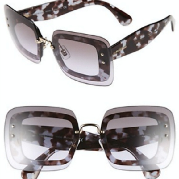 81c82b8cbbe MIU MIU GRAY BLACK HAVANA SQUARE SUNGLASSES